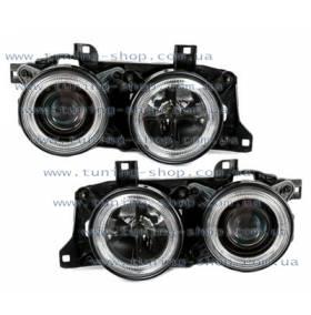 Передняя оптика Angel Eyes Black BMW E34
