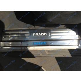 Накладки на пороги с подсветкой Toyota Prado 150 внутренние
