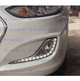 Штатные дневные ходовые огни Hyundai Solaris с ПТФ